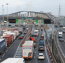 ©Licensed to London News Pictures 19/12/2019. <br /> Dartford ,UK. Busier than normal traffic at the Dartford crossing in Kent. Motorists are facing heavy traffic today as people try to make an early Christmas getaway on the roads. Photo credit: Grant Falvey/LNP