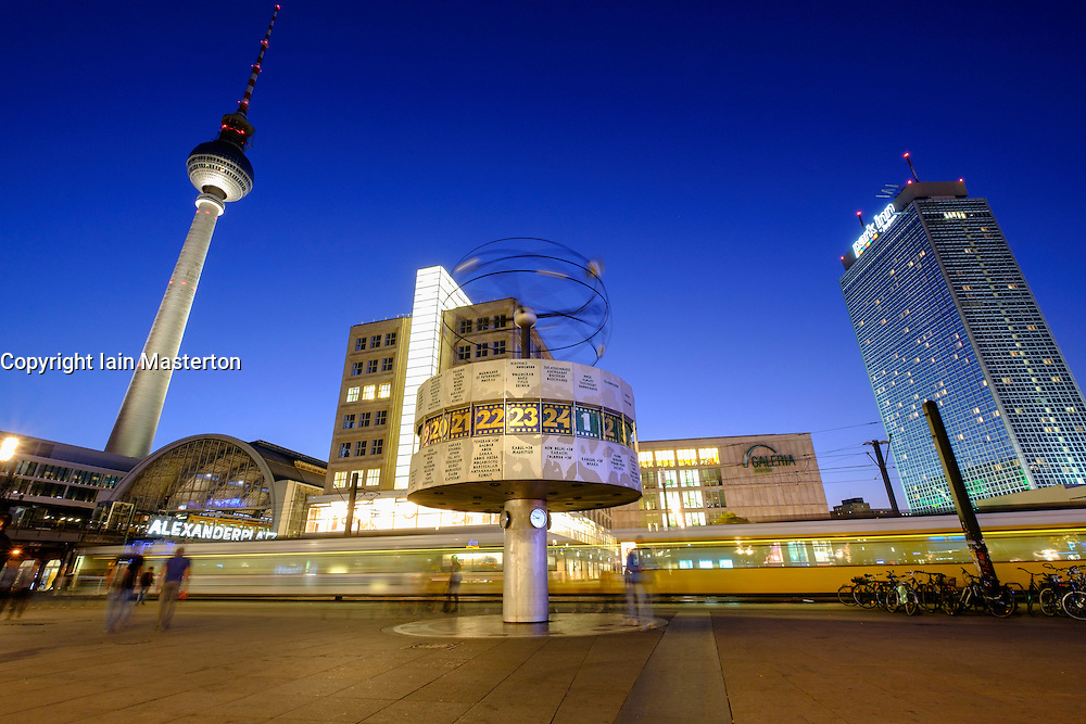 Night view of Alexanderplatz in Mitte Berlin Germany