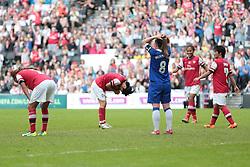 Arsenal Ladies defender Yukari Kinga (4) cant believe she has scored  - Photo mandatory by-line: Nigel Pitts-Drake/JMP - Tel: Mobile: 07966 386802 01/06/2014 - SPORT - FOOTBALL - LADIES - Stadium mk - Milton Keynes - Arsenal Ladies v Everton Ladies - The FA Women's Cup Final