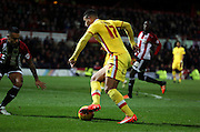 Milton Keynes Dons midfielder Daniel Powell driving into the box during the Sky Bet Championship match between Brentford and Milton Keynes Dons at Griffin Park, London, England on 5 December 2015. Photo by Matthew Redman.