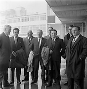 17/09/1967<br /> 09/17/1967<br /> 17 September 1967<br /> Fishermen leave Dublin Airport for Norway. Seven fishermen from Killybegs, Galway, Wexford, Howth, Burtonport, Dun Laoghaire and Arklow flew out on a two week tour of the Norwegian Fishing Industry sponsored by Bord Iascaigh Mhara. Picture shows Mr J.M. O'Connor (left) Advisory Services Manager, Bord Iascaigh Mhara seeing the party off, from left: Mr Joseph Boyle, Burtonport; Mr Co Murrin, Killybegs; Mr James Birmingham, Arklow; Mr John Faherty, Galway; Mr Patrick Downes, Kilmore Quay; Mr Gregory Conealy, Galway and Mr Gerry O'Shea, Howth.