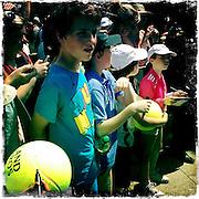 Roland Garros. Paris, France. May 27th 2012.Kids wait for Rafael NADAL to get out from training.Les enfants attendent que Nadal sorte de l'entrainement.