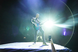 Chris Walstenholme of Muse performing in the final headline slot on the Main Stage at the 2017 Reading Festival. Photo date: Sunday, August 27, 2017. Photo credit should read: Richard Gray/EMPICS Entertainment