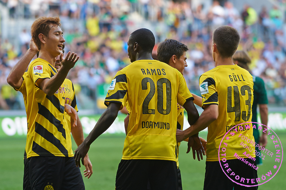 Adrian Ramos of Dorussia Dortmund celebrates with team mates after scoring during international friendly soccer match between WKS Slask Wroclaw and BVB Borussia Dortmund on Municipal Stadium in Wroclaw, Poland.<br /> <br /> Poland, Wroclaw, August 6, 2014<br /> <br /> Picture also available in RAW (NEF) or TIFF format on special request.<br /> <br /> For editorial use only. Any commercial or promotional use requires permission.<br /> <br /> Mandatory credit:<br /> Photo by &copy; Adam Nurkiewicz / Mediasport