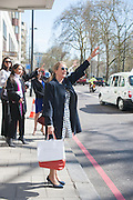 BETSY ABDULLA, Leaving The Seventh Annual Foreign Sisters Lunch in aid of Cancer Research UK. . The Dorchester 53 Park Lane. London. 1 May 2013.