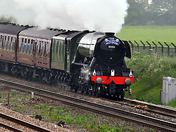 THE FLYING SCOTSMAN, Steaming through Northamptonshire heading North this morning Saturday 4th June 2016<br />