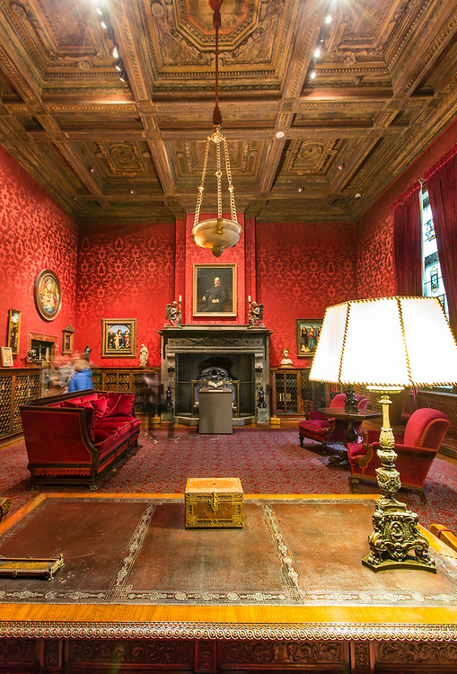 P{ierrepont Morgan's red study, with its coffered ceiling.