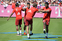 06.08.2015, Saebener Strasse, Muenchen, GER, 1. FBL, FC Bayern Muenchen, im Bild vl. Thomas Mueller ( FC Bayern Muenchen ), David Alba ( FC Bayern Muenchen ) und im Hintergrund Douglas Costa ( FC Bayern Muenchen ) und Thiago Alcantara ( FC Bayern Muenchen ) // during a Trainingssession of German Bundesliga Club FC Bayern Munich at the Saebener Strasse in Muenchen, Germany on 2015/08/06. EXPA Pictures © 2015, PhotoCredit: EXPA/ Eibner-Pressefoto/ Vallejos<br /> <br /> *****ATTENTION - OUT of GER*****