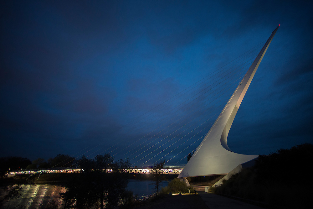 The Sundial Bridge at Turtle Bay crosses the Sacramento River in the heart of Redding, California. Opened July 4, 2004, the bridge links the north and south campuses of Turtle Bay Exploration Park and serves as a new downtown entrance for Redding's extensive Sacramento River Trail system.