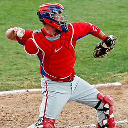March 20, 2012; Sarasota, FL, USA; Philadelphia Phillies catcher Brian Schneider (23) against the Baltimore Orioles during a spring training game at Ed Smith Stadium.  Mandatory Credit: Derick E. Hingle-US PRESSWIRE