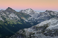 Alpenglow or Belt of Venus over Marriott Basin, Coast Mountains British Columbia