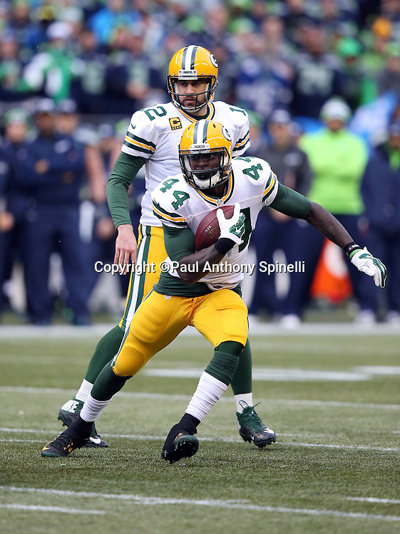 Green Bay Packers running back James Starks (44) runs for a short gain in the fourth quarter during the NFL week 20 NFC Championship football game against the Seattle Seahawks on Sunday, Jan. 18, 2015 in Seattle. The Seahawks won the game 28-22 in overtime. ©Paul Anthony Spinelli