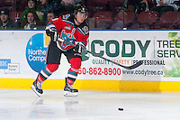KELOWNA, CANADA - DECEMBER 7: Zach Franko #9 of the Kelowna Rockets makes a pass against the Kootenay Ice on December 7, 2013 at Prospera Place in Kelowna, British Columbia, Canada.   (Photo by Marissa Baecker/Shoot the Breeze)  ***  Local Caption  ***