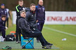 BURTON-UPON-TRENT, ENGLAND - Saturday, December 3, 2016: Liverpool's manager Michael Beale [R] and coach Mike Garrity during the Premier League International Cup match against Leicester City at St. George's Park. (Pic by David Rawcliffe/Propaganda)