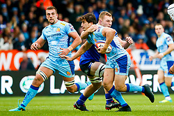 Tom Hendrickson of Exeter Chiefs is tackled Sam Underhill of Bath Rugby - Mandatory by-line: Ryan Hiscott/JMP - 03/11/2018 - RUGBY - Sandy Park Stadium - Exeter, England - Exeter Chiefs v Bath Rugby - Premiership Rugby Cup