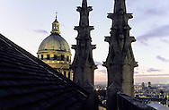 France. Paris. 5th district Elevated view. view on The Pantheon from Clowis tower (remaining of the old church)