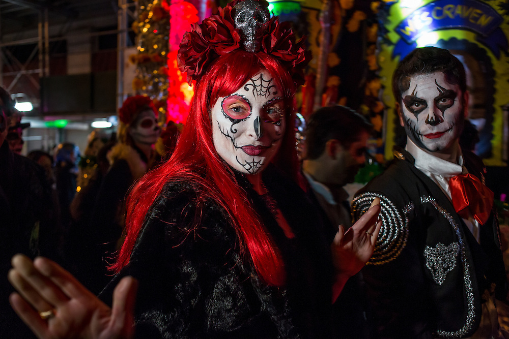 New York, NY - 31 October 2015. A couple made up with spidery makeup in the annual Greenwich Village Halloween Parade.