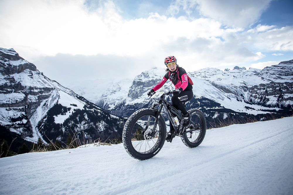 Beatriz Gallego during stage 2 and 3 of the first Snow Epic, the ascent and decent of Brunni H&uuml;tte near Engelberg, in the heart of the Swiss Alps, Switzerland on the 16th January 2015<br /> <br /> Photo by:  Nick Muzik / Snow Epic / SPORTZPICS