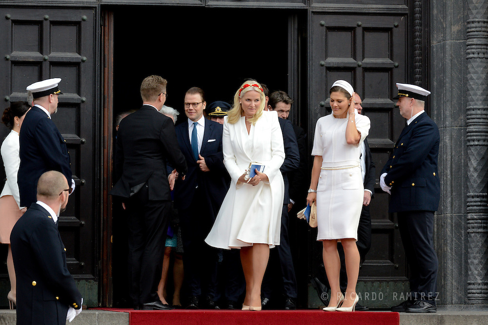 16.04.2015. Copenhagen, Denmark.<br /> Princess Mette-Marit of Norway and Crown Princess Victoria of Sweden leave the Town Hall after lunch during festivities for the 75th birthday of Queen Margrethe II.<br /> Photo:© Ricardo Ramirez