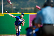 Starting pitcher Sam Welvaert throws a pitch during the second inning of Friday evening's American Legion win against Branford, CT at Avista Stadium in Spokane, WA.