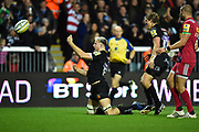Jonny Hill of Exeter Chiefs throws the ball celebration after he runs in for his second try which made the score after a converted kick 28-17 during the Aviva Premiership match between Exeter Chiefs and Harlequins at Sandy Park, Exeter, United Kingdom on 19 November 2017. Photo by Graham Hunt.