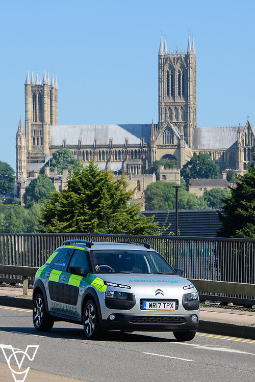 Thames Ambulance Service Ltd - Lincoln Cathedral seen from Pelham Bridge, Lincoln, Lincolnshire<br /> <br /> Picture: Chris Vaughan Photography<br /> Date: May 26, 2017