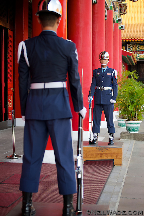 The honor guard stand motionless at the Martyr's Shrine in Taipei.