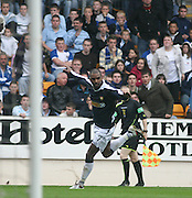 Freddie Daquin celebrates after netting Dundee's equaliser, St Johnstone v Dundee, McDiarmid Park, Perth, 18/08/2007