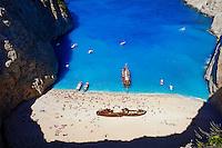Grece, iles Ioniennes, ile de Zante, la baie du Naufrage // Greece, Ionian island, Zante island, Shipwreck beach