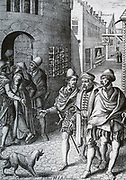 Picture of a 'real citation' the hostage bringing debtors (the left of a woman, the right of a man).  Legal practice in the Netherlands 17th century