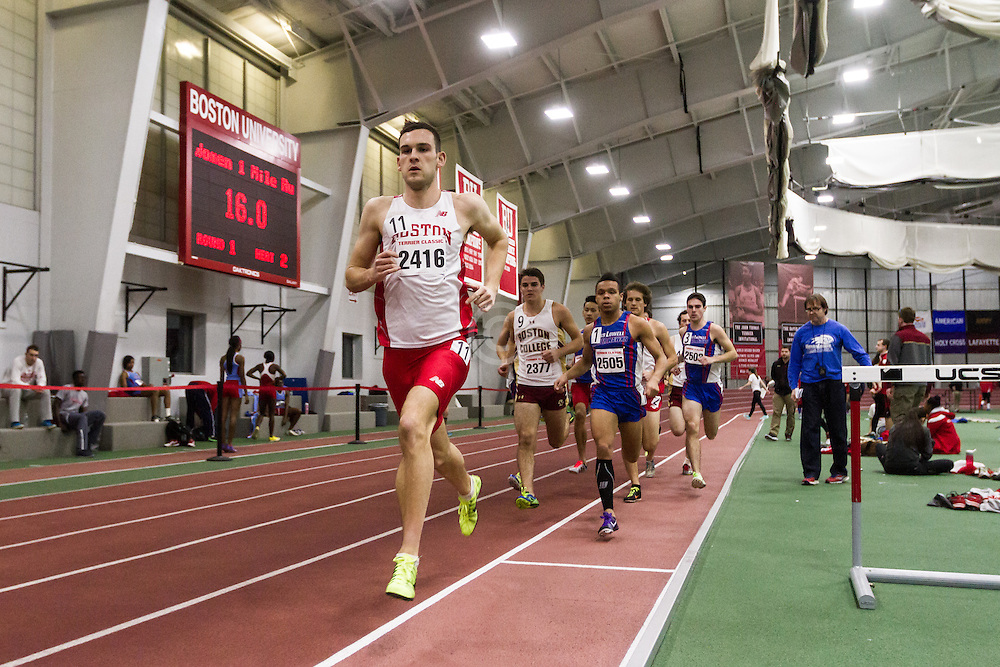 Boston University Multi-team indoor track & field, men's one mile, section 1, BU, 2416