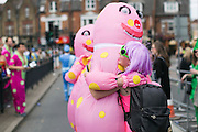 "UNITED KINGDOM, London: 16 May 2015 Rugby fans, including ""Mr Blobby"" enjoy the sunshine outside of the Marriott London Sevens Rugby tournament. More than 113,000 fans, most of them in fancy dress, will ascend onto Twickenham for the sporting entertainment. This years fancy dress theme was ""Space"". Rick Findler / Story Picture Agency"