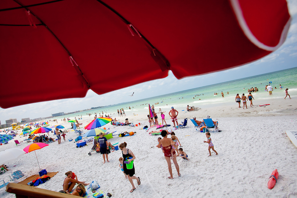 SARASOTA, FL -- June 14, 2011 -- Beach-goers lay out at Siesta Public Beach in Sarasota, Fla., on Tuesday, June 14, 2011.