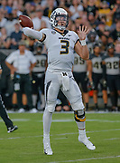 WEST LAFAYETTE, IN - SEPTEMBER 15: Drew Lock #3 of the Missouri Tigers throws the ball during the game against the Purdue Boilermakers at Ross-Ade Stadium on September 15, 2018 in West Lafayette, Indiana. (Photo by Michael Hickey/Getty Images) *** Local Caption *** Drew Lock NCAA Football - Purdue Boilermakers vs Missouri Tigers at Ross-Ade Stadium in West Lafayette, Indiana. Sports photographer by Michael Hickey