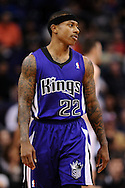 Nov 20, 2013; Phoenix, AZ, USA; Sacramento Kings guard Isaiah Thomas (22) on the court against the Phoenix Suns in the first half at US Airways Center. The Kings defeated the Suns 113-106. Mandatory Credit: Jennifer Stewart-USA TODAY Sports