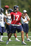 SAN DIEGO - JUNE 10:  Quarterback Philip Rivers #17 of the San Diego Chargers unloads a pass during minicamp at the San Diego Chargers Park practice field on June 10, 2006 in San Diego, CA. ©Paul Anthony Spinelli *** Local Caption *** Philip Rivers