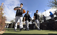 GLENDALE, AZ - FEBRUARY 24:  Javy Guerra #41, Leury Garcia #27 and Micah Johnson #7 of Chicago White Sox walk to the practice fields during spring training workouts on February 24, 2015 at The Ballpark at Camelback Ranch in Glendale, Arizona. (Photo by Ron Vesely)   Subject:   Javy Guerra; Leury Garcia; Micah Johnson