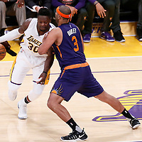 06 November 2016: Phoenix Suns forward Jared Dudley (3) defends on Los Angeles Lakers forward Julius Randle (30) during the LA Lakers 119-108 victory over the Phoenix Suns, at the Staples Center, Los Angeles, California, USA.