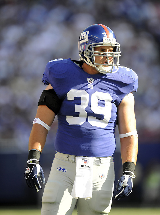EAST RUTHERFORD, NJ - SEPTEMBER 13: Madison Hedgecock #39 of the New York Giants looks on during the game against the Washington Redskins on September 13, 2009 at Giants Stadium in East Rutherford, New Jersey. (Photo by Rob Tringali) *** Local Caption *** Madison Hedgecock