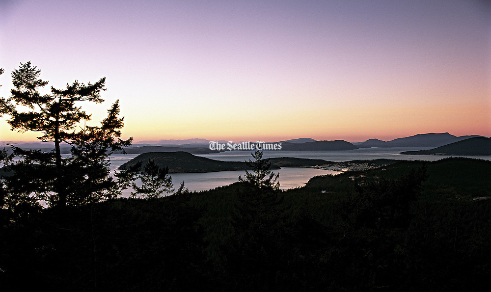 1,300-foot Mount Erie, offers a stunning view of Anacortes' Skyline neighborhood and the San Juan Islands. (Benjamin Benschneider / The Seattle Times)