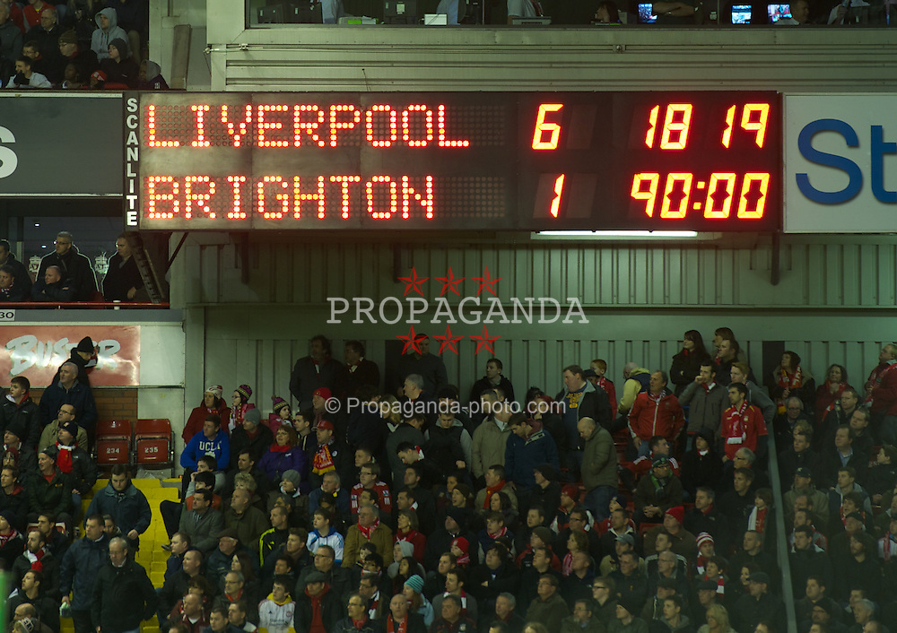 LIVERPOOL, ENGLAND - Saturday, February 19, 2012: Liverpool's scoreboard records the 6-1 victory over Brighton & Hove Albion during the FA Cup 5th Round match at Anfield. (Pic by David Rawcliffe/Propaganda)