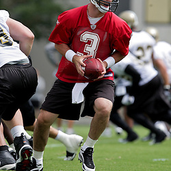 05 June 2009: Saints quarterback Joey Harrington (3) participates in drills during the New Orleans Saints Minicamp held at the team's practice facility in Metairie, Louisiana.