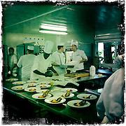 Roland Garros. Paris, France. 31 Mai 2012..Les cuisines Potel & Chabot du Village de Roland Garros..Potel & Chabot couvre toutes les receptions de Roland Garros depuis 32 ans. 75000 repas sur toutes la quinzaine. 5000 repas par jour dont 1200 au Village. 800 employes sur Roland Garros dont 270 cuisiniers. .Potel & Chabot fonde en 1820, est le leader de son secteur...