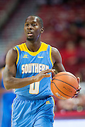 FAYETTEVILLE, AR - NOVEMBER 13:  Christopher Hyder #0 of the Southern University Jaguars dribbles down the court during a game against the Arkansas Razorbacks at Bud Walton Arena on November 13, 2015 in Fayetteville, Arkansas.  The Razorbacks defeated the Jaguars 86-68.  (Photo by Wesley Hitt/Getty Images) *** Local Caption *** Christopher Hyder