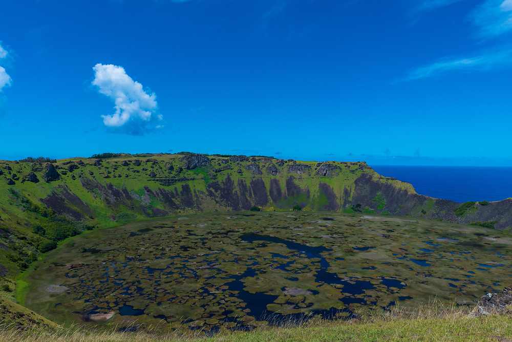 Looking into the crater of the extinct Rano Kau Crater on Easter Island