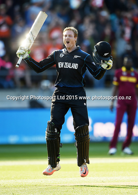 New Zealand opening batsman Martin Guptill celebrates his double century during the ICC Cricket World Cup quarter final match between New Zealand Black Caps and the West Indies, Wellington, New Zealand. Saturday 21March 2015. Copyright Photo: Andrew Cornaga / www.Photosport.co.nz