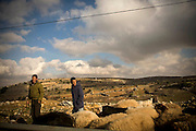 Two shepards graze their sheep on land that has been established as another location for more settlements to be built within the West Bank. Image © Angelos Giotopoulos/Falcon Photo Agency