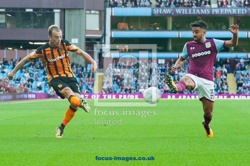 Kamil Grosicki of Hull City gets a cross in ahead of Neil Taylor of Aston Villa during the Sky Bet Championship match at Villa Park, Birmingham<br /> Picture by Matt Wilkinson/Focus Images Ltd 07814 960751<br /> 05/08/2017