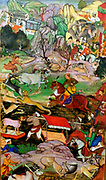 Akbar hunting with Cheetahs.  From the Akbarnama (Book of Akbar). Composition by Basawan, painting by Dharmdas.  Opaque watercolour and gold on paper, Mughal, c 1590-5. Abkar, the central figure on horseback is depicted hunting near Agra in 1561.
