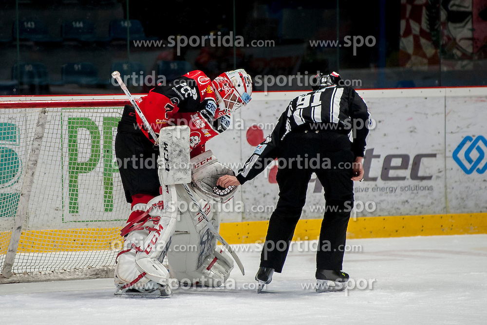 13.01.2017, Ice Rink, Znojmo, CZE, EBEL, HC Orli Znojmo vs EC KAC, 43. Runde, im Bild Patrik Nechvatal (HC Orli Znojmo)<br /> Marek Spacek (HC Orli Znojmo) // during the Erste Bank Icehockey League 43th round match between HC Orli Znojmo and EC KAC at the Ice Rink in Znojmo, Czech Republic on 2017/01/13. EXPA Pictures &copy; 2017, PhotoCredit: EXPA/ Rostislav Pfeffer
